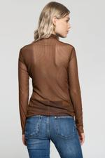 OwnTheLooks Brown Sheer Turtle Neck Ribbed Top (013C)