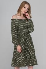 OwnTheLooks Moss Green Flounced Hem Polka Dot Midi Dress