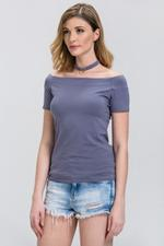 OwnTheLooks Basic Grey off the Shoulder Choker Top