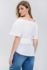 OwnTheLooks White Crepe Off-The-Shoulder Corset Top