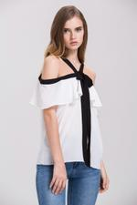 OwnTheLooks Mina Al Sheikhly - White Ruffled Cold Shoulder Top (554A)
