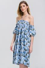 OwnTheLooks Blue Floral Print Off-Shoulder Dress (428A)