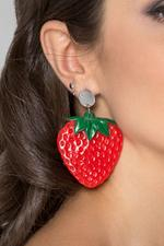 OwnTheLooks Red & Green Strawberry Drop Earrings (846A)