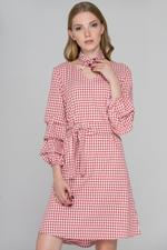 OwnTheLooks Red Gingham Puff Sleeves Midi Dress