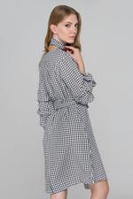 OwnTheLooks Black Gingham Puff Sleeves Midi Dress