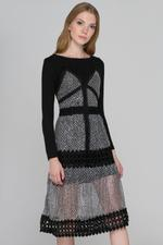 OwnTheLooks Black Glittery Lace Dress (730A)