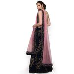Pankhudii Navy Blue and Pink Velvet Semistitched Lehenga Set  (RHYTHM32)