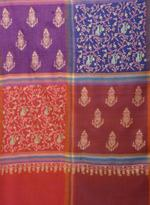 Inaayat Red, Rust, Blue And Pink Pashmina Base With Different Coloured Embroidery Shawl
