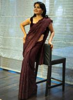 Pankhudii Burgundy Embroidered Saree with Unstitched Blouse (15655)