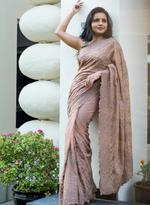 Pankhudii Beige Embroidered Saree with Unstitched Blouse (15655)