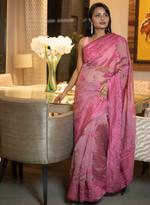 Pankhudii Pink Embroidered Saree with Unstitched Blouse  (15696)