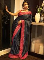 Pankhudii Navy Blue Embroidered Saree with Unstitched Blouse (15162)
