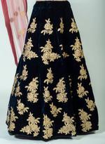 Pankhudii Navy Blue & Pink Embellished Semi-Stitched Lehenga Set (7601)