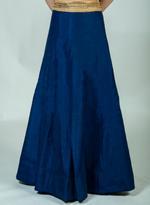 Pankhudii Blue & Green Woven Semi-Stitched Lehenga Set (76140)