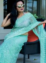 Pankhudii Light Green Embroidered Saree with Unstitched Blouse  (15661)