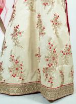 Pankhudii Beige & Pink Embroidered Semi-Stitched Lehenga Set (76087)