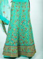 Pankhudii Green Embroidered Semi-Stitched Lehenga Set (76158)
