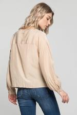 OwnTheLooks Beige Cinched Button Up Shirt (831B)