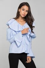 OwnTheLooks Blue Ruffle Sleeved Cold Shoulder Top