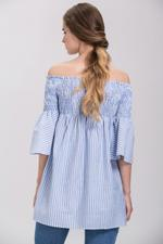 OwnTheLooks Denim Blue Striped Off Shoulder Empire Tunic Top (574A)