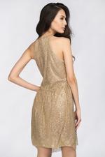 OwnTheLooks Gold Glitter Halter Dress (250A)