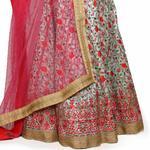 Pankhudii Pastel Green and Pink Floral Embroidered Semistitched Lehenga Set  (RHYTHM07)