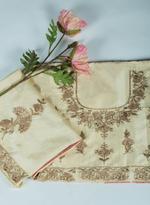 Pankhudii Beige & Pink Embroidered Semi-Stitched Lehenga Set (76068)