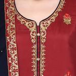 Pankhudii Maroon and Blue Embroidered Sharara Suit Set (RAAS46)