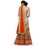 Pankhudii Beige and Orange Semistitched Lehenga Set  (RHYTHM20)