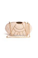 Wahe Guru White & Gold Pearl Embellished Box Clutch (T01000)