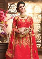 Pankhudii Red & Gold Embroidered Semi-Stitched Lehenga Set (10606)