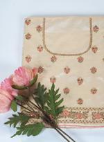Pankhudii Beige & Pink Embroidered Semi-Stitched Lehenga (76221)