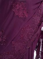 Pankhudii Plum Embroidered Saree with Unstitched Blouse (15654)