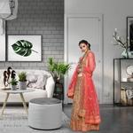 Pankhudii Beige and Pink Aari Work Semistitched Lehenga Set (RHYTHM02)
