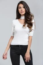 OwnTheLooks Baby Pink Ribbed Choker Top (194)