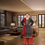 Pankhudii Blue and Red Heavy Work Sharara Suit Set (RAAS64)
