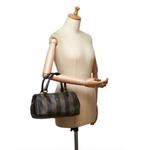 Fendi Black & Brown Pequin Mini Boston Bag (9CFNHB014)