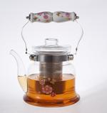 Heat Resistant Glass Teapot with Stainless Steel & Porcelain Handle 1600ml