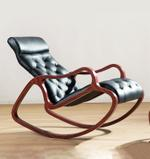 Claire Red Walnut and Black Rocking Chair