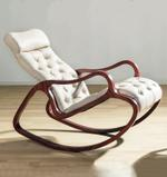 Claire Red Walnut and Beige Rocking Chair