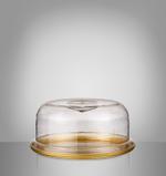 Acrylic Cake Plate Dia Golden Disign