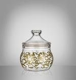 Acrylic Food Storage Canister Golden Design -Small