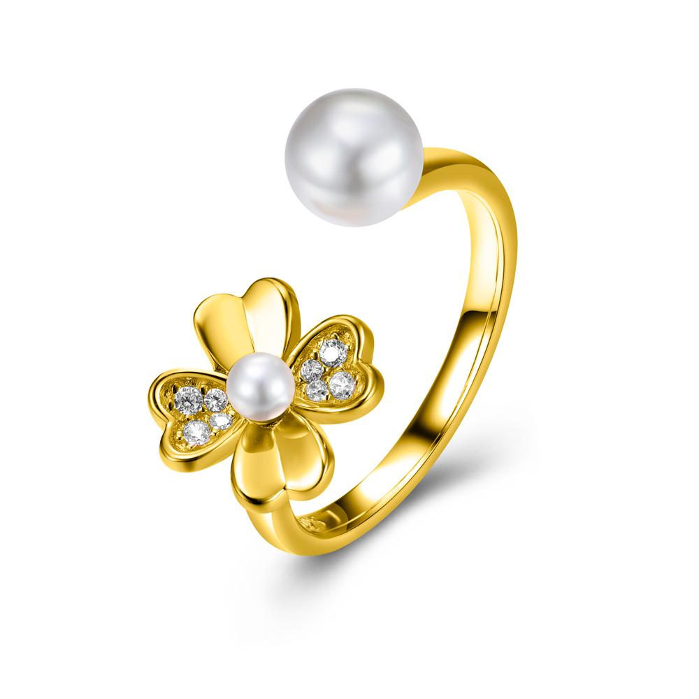 Fabian Flower Shape Gold Plated Ring - FLJ-RIT1337-7-R