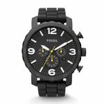 Fossil Nate Chronograph Black Dial Black Silicone Men's Watch JR1425