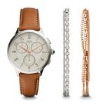 Fossil Women's Abilene Chronograph Light Brown Watch and Jewelry Box Set CH4001SET