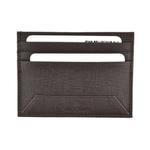 Jean Bellecour Long Grain Leather Card Holder Dark Brown 81028-DB