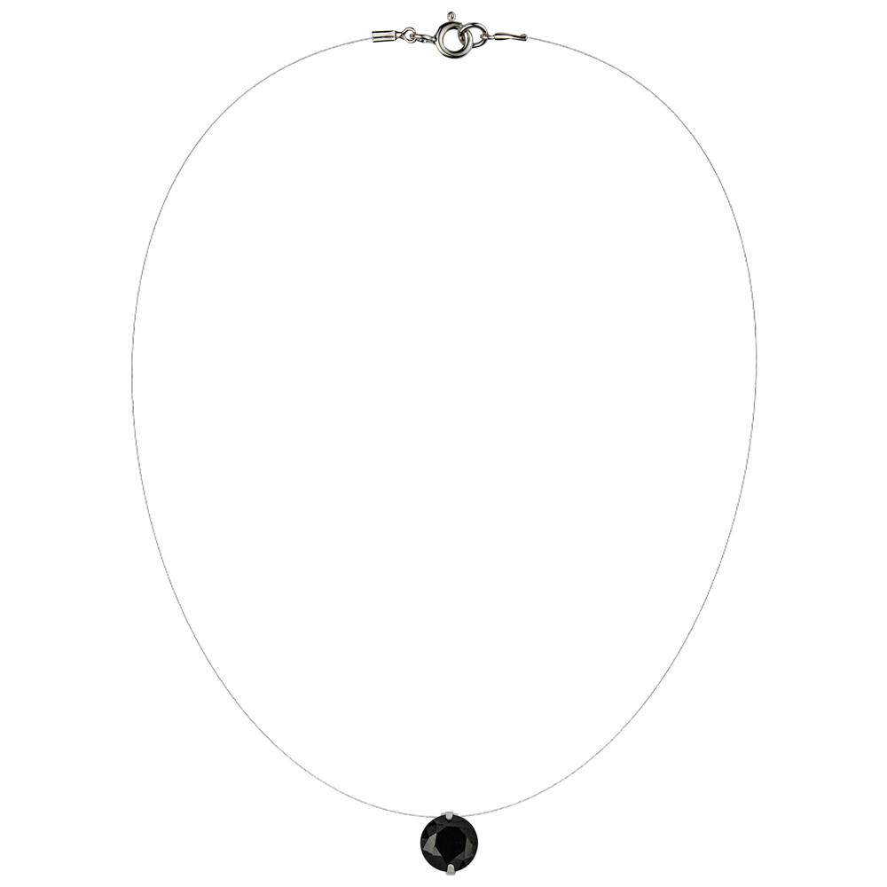 Lencia Black Cubic Zirconia Crystal Necklace - LLJ-BX100NL-B-NL