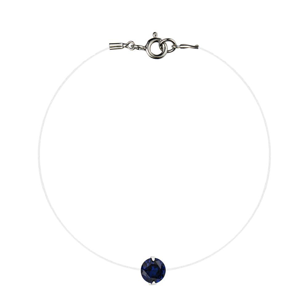 Lencia Blue Cubic Zirconia Crystal Bracelet - LLJ-BX100NL-BL-BR