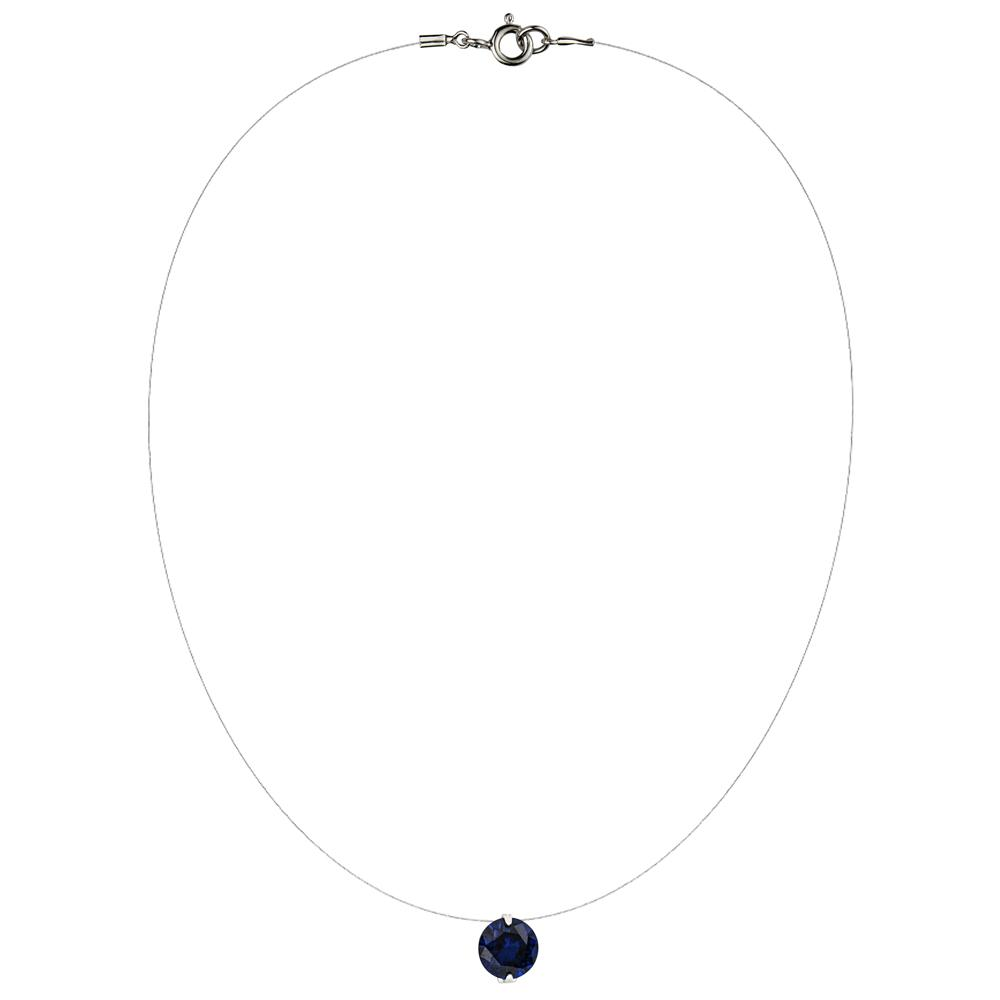 Lencia Blue Cubic Zirconia Crystal Necklace - LLJ-BX100NL-BL-NL