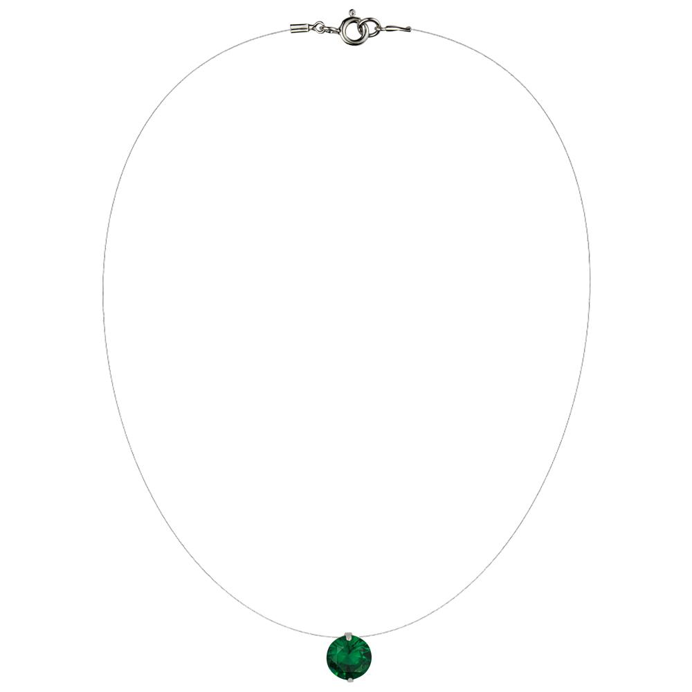 Lencia Green Cubic Zirconia Crystal Necklace - LLJ-BX100NL-GN-NL
